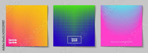 Obraz Set of square abstract backgrounds with halftone pattern in neon colors. Collection of gradient textures with geometric ornament. Design template of flyer, banner, cover, poster. Vector  - fototapety do salonu