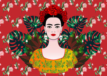 Portrait Of The Young Beautiful Mexican Woman With A Traditional Hairstyle. Mexican Skulls Earrings, Crown Of Flowers And Red Flowers. Traditional Mexican Dress, Death's Day. Vector Floral Background
