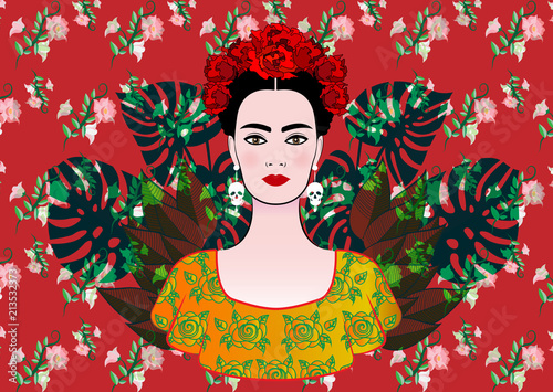 Stampa su Tela Portrait of the young beautiful mexican woman with a traditional hairstyle