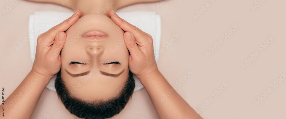 Fototapety, obrazy: High angle shot of a face beautiful young woman enjoying a beauty treatment at a spa salon