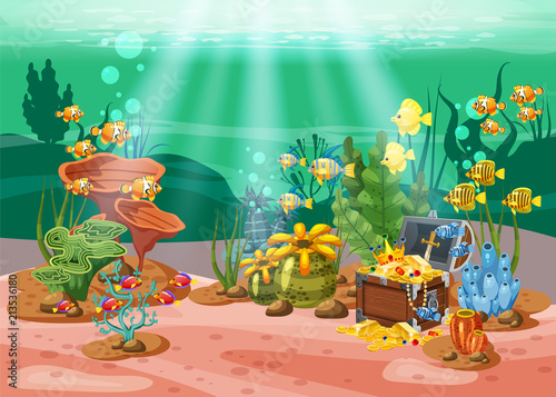 Naklejka premium Underwater treasure, chest at the bottom of the ocean, gold, jewelry on the seabed. Underwater landscape, corals, seaweed, tropical fish, vector, cartoon style, isolated