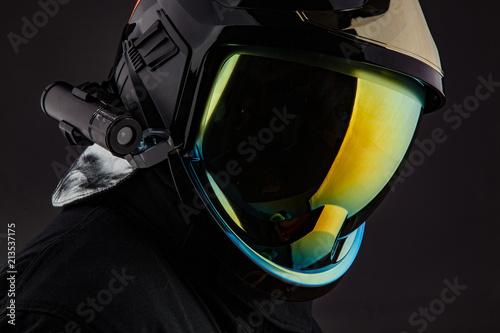 Canvas Print Racer in modern shiny helmet