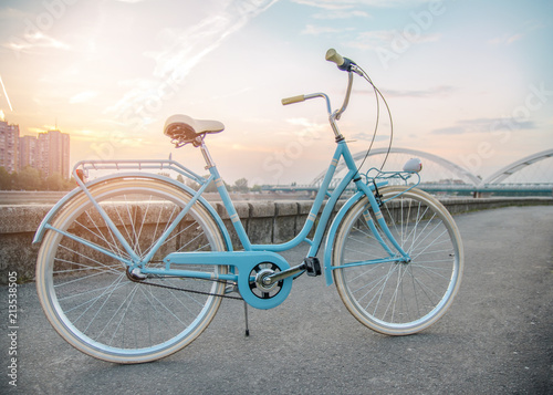 Brand new vintage style bicycle by the river at sunset