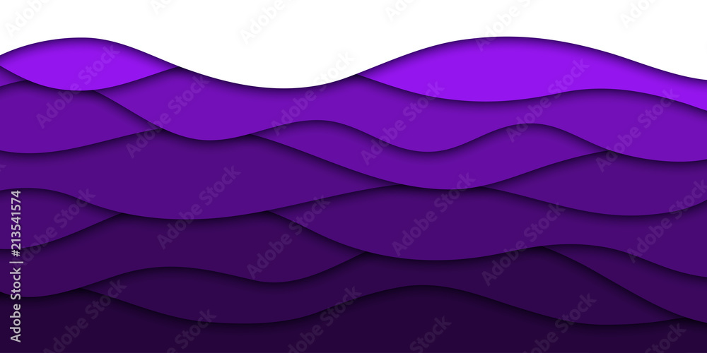 Fototapety, obrazy: Vector realistic isolated purple paper cut layer background for decoration and covering. Concept of geometric abstract design.