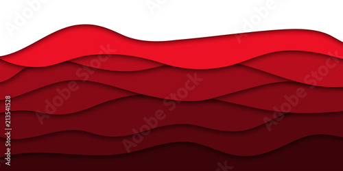 Fotografija Vector realistic isolated red paper cut layer background for decoration and covering