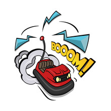 Crazy Bumper A Car Vector Illustration Isolated On White Background.