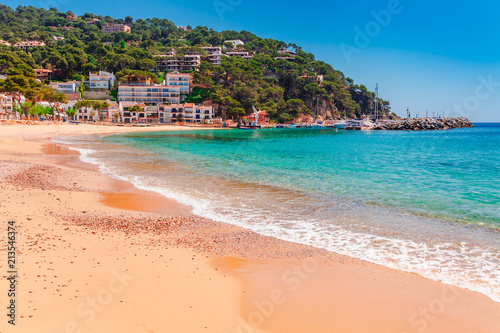 Photo  Sea landscape Llafranc near Calella de Palafrugell, Catalonia, Barcelona, Spain