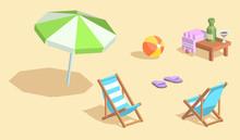 Isometric Vector Beach Elements