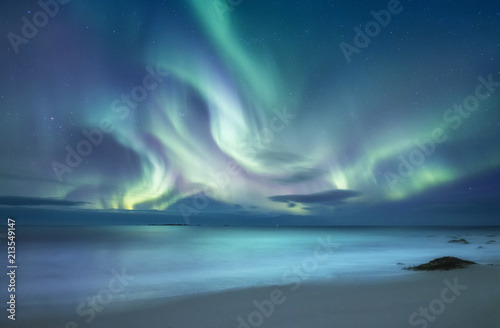 Foto auf Gartenposter Nordlicht Northen light above ocean. Beautiful natural landscape in the Norway