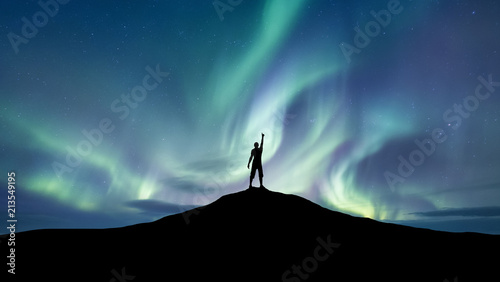 Fotografiet  Silhouette of a championat the northen light background