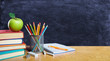 canvas print picture Back To School Concept - Books And Pencil With Apple On Table