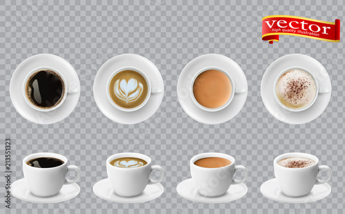 Leinwand Poster 3d realistic different sorts of coffee in white cups view from the top and side