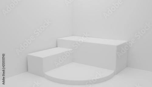 Fotografie, Obraz  3D rendering abstract shapes podium for presentations