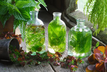 Bottles And Vials Of Tincture Or Infusion Of Healing Herbs, Nettle And Medicinal Herbs On Wooden Table In A Retro Village House. Herbal Medicine.