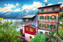 Wooden House On The Coast Of Lake In Hallstatt Village Austrian Alps
