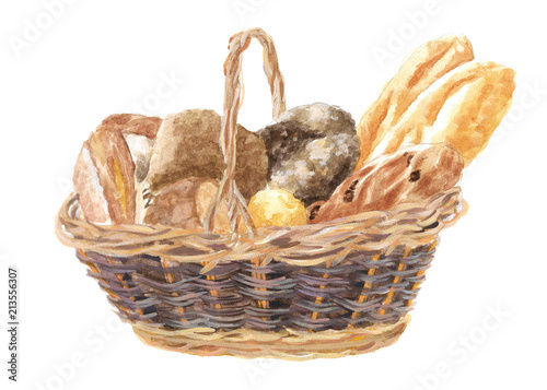 Watercolor Illustration Of A Wicker Basket With Bread A Loaf And Pastries Drawing By Hand Of Wheat Products Buy This Stock Illustration And Explore Similar Illustrations At Adobe Stock Adobe Stock