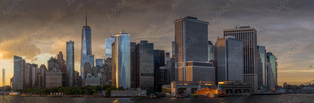 Fototapety, obrazy: Panorama view of  NYC Lower Manhattan skyline in New York Harbor