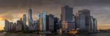 Fototapeta Nowy Jork - Panorama view of  NYC Lower Manhattan skyline in New York Harbor