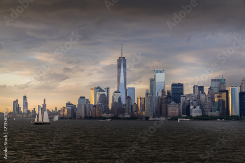Poster Chicago Panorama view of NYC Lower Manhattan skyline with sailboats passing by in New York Harbor