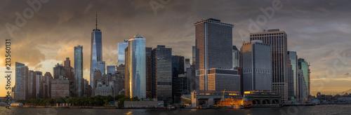 Panorama view of  NYC Lower Manhattan skyline in New York Harbor Canvas Print