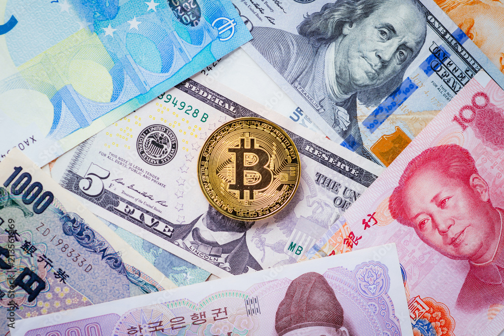 Photo & Art Print Various foreign currencies and gold coin bitcoin