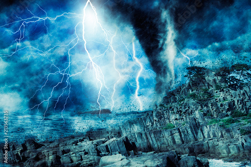 In de dag Kust storm