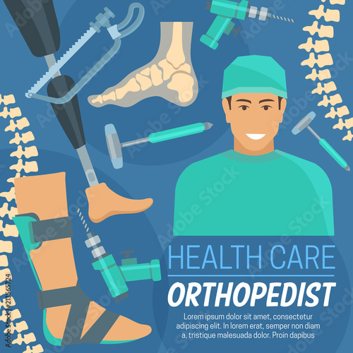 Fotografía  Orthopedic poster orthopedist and prosthetic items