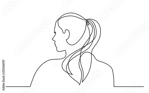 Obraz na płótnie continuous line drawing of young woman with pony tail
