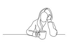 Continuous Line Drawing Of Sit...