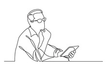 Continuous Line Drawing Of Sitting Man Planning With Tablet