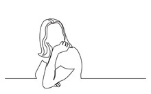 Continuous Line Drawing Of Sitting Young Woman In Dreamy Mood