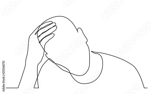 Obraz continuous line drawing of man in need - fototapety do salonu