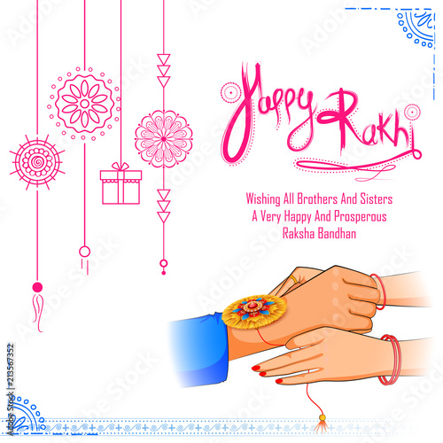 Greeting card with Decorative Rakhi for Raksha Bandhan background Canvas Print