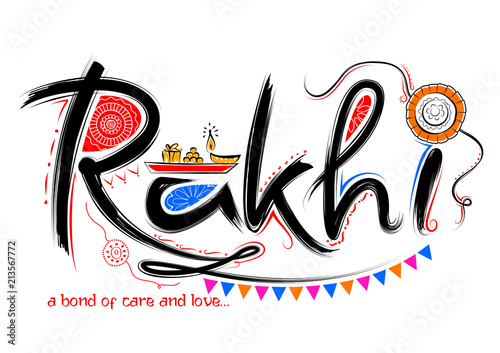 Greeting card with Decorative Rakhi for Raksha Bandhan background Wallpaper Mural