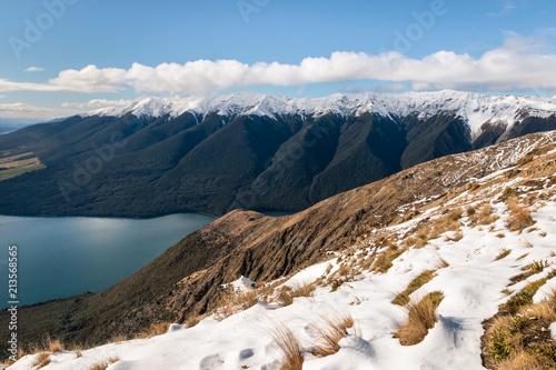 Photo Mount Robert, Lake Rotoiti and Saint Arnaud Range in winter, South Island, New Z