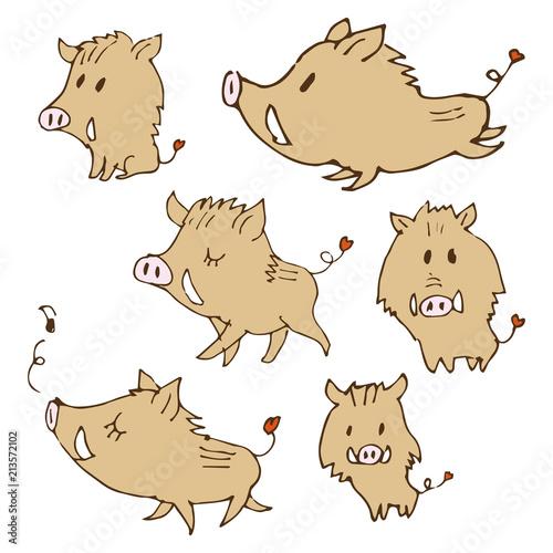 手書き 猪のイラスト 年賀状素材 干支動物 Adobe Stock でこのストック