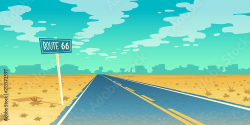 Canvas Prints Green coral Vector desert landscape with empty asphalt way to canyon, wasteland. Route 66, path with road sign. Voyage background with clouds.