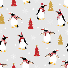 Cute Penguin In Winter Costume Seamless Pattern. Wildlife Animal In Christmas Holidays Outfit Background.