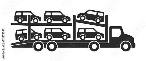 Tablou Canvas Car carrier truck icon, Monochrome style