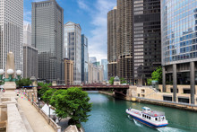 Chicago Skyline Panorama With Skyscrapers And Chicago River At Summer Sunny Day, Chicago, Illinois, USA.
