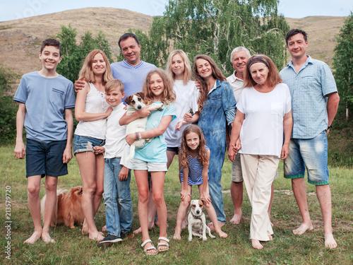 Fototapeta Large family outdoors obraz