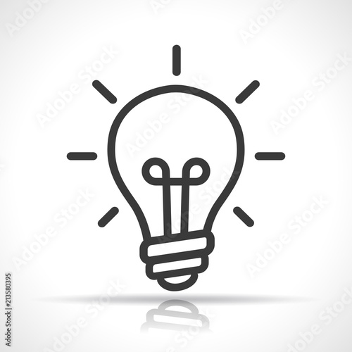 light bulb icon on white background Canvas Print