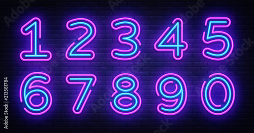 Fototapeta Number symbols collection neon sign vector
