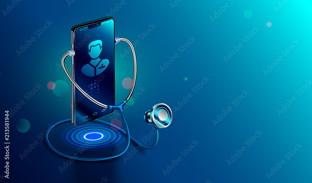 Fototapeta Doctor online concept. Icon Doctor through the phone screen using stethoscope checks health. Online medical clinic communication with patient. Vector isometric illustration.