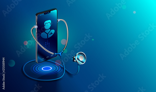 Fototapeta Doctor online concept. Icon Doctor through the phone screen using stethoscope checks health. Online medical clinic communication with patient. Vector isometric illustration. obraz