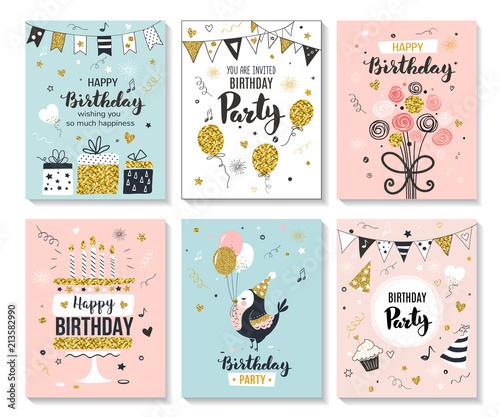 Fototapeta Happy Birthday Greeting Card And Party Invitation Templates Vector Illustration Hand Drawn Style