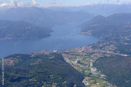 aerial of Luino village on Maggiore lake, Italy Canvas Print