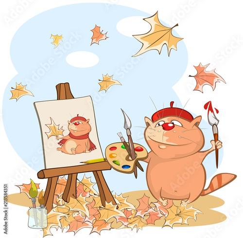 Foto op Plexiglas Babykamer Illustration of a Cute Cat. Cartoon Character