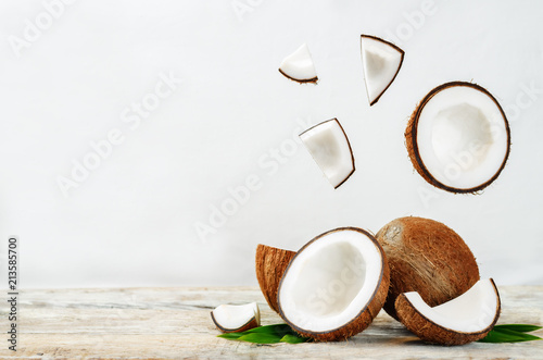 Coconut with flying slices
