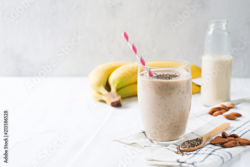 Healthy smoothie banana almond milk chia